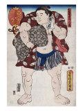 The Sumo Wrestler Ichiriki of the East Side, Japanese Wood-Cut Print Print