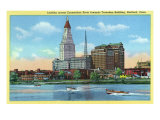 Hartford, Connecticut, View of the Travelers Building from across the CT River Posters