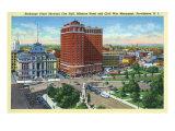 Providence, RI, Exchange Place with City Hall, Biltmore Hotel, Civil War Monument Poster von  Lantern Press