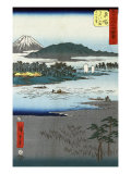 Pilgrims in Boats Crossing a River with Mount Fuji in the Background, Japanese Wood-Cut Print Posters