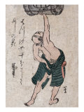 Man Lifting a Sake Barrel, Japanese Wood-Cut Print Posters