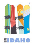 Idaho, Snowboards in the Snow Posters by  Lantern Press