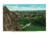 New Haven, Connecticut, Aerial View of the City from East Rock Cliffs Prints by  Lantern Press