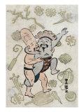 Sumo Match between Daikoku and Fukurokuju, Japanese Wood-Cut Print Prints by  Lantern Press