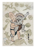 Sumo Match between Daikoku and Fukurokuju, Japanese Wood-Cut Print Prints