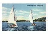 Lake Coeur d'Alene, Idaho, View of Two Sailboats Print
