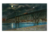 Omaha, Nebraska, View of the Douglas Street Bridge and Smelter at Night Prints