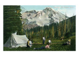 Mount Rainier National Park, Washington, A Camping Scene in the Woods Prints