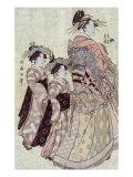 The Courtesan Somenosuke of the House of Matsuba, Japanese Wood-Cut Print Prints