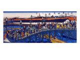 Steel Bridge at Higashibori, Osaka, Japanese Wood-Cut Print Prints