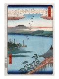Descending Geese at Katada, Japanese Wood-Cut Print Poster by  Lantern Press