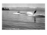 Flathead Lake, Montana, View of a Man Water-Skiing, Couple in Speedboat Prints by  Lantern Press
