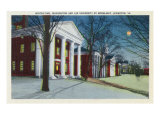 Lexington, VA, Exterior View of Washington, Lee University at Night during Winter Posters by  Lantern Press
