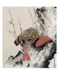 Helmet on a Plum Tree, Japanese Wood-Cut Print Posters