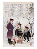 Russian Soldiers and a Rooster around a Campfire, Japanese Wood-Cut Print Posters