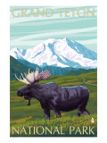 Grand Teton National Park, Wyoming, Moose and Mountains Poster by  Lantern Press