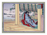 Woman Adjusting the Blinds, Japanese Wood-Cut Print Poster by  Lantern Press