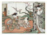 Courtesan Watching a Young Apprentice in Bed, Japanese Wood-Cut Print Posters