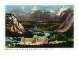 Banff, Alberta, Canada, Panoramic View of Banff Springs Hotel and Bow River Valley Art by  Lantern Press