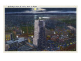 Akron, Ohio, Aerial View of the City at Night Posters