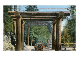 Mount Rainier National Park, Washington, View of the Park Entrance, Old Model-T Posters