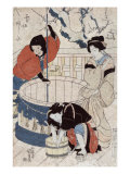 Women Getting Water at the Well, Japanese Wood-Cut Print Prints