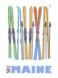 Maine, Skis in the Snow Planscher av  Lantern Press