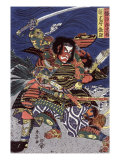 The Samurai Warriors Ichijo Jiro Tadanori and Notonokami Noritsune, Japanese Wood-Cut Print Print
