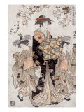 The Courtesan Chozan of Chojiya, Japanese Wood-Cut Print Print by  Lantern Press
