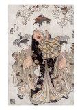 The Courtesan Chozan of Chojiya, Japanese Wood-Cut Print Print