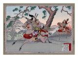 Warriors on Horseback, Japanese Wood-Cut Print Print