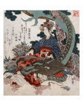 Woman Playing a Koto with a Dragon Curled around Her, Japanese Wood-Cut Print Art by  Lantern Press