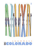 Snowmass, Colorado, Skis in the Snow Prints