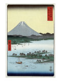Pine Beach at Miho in Suruga with View of Mount Fuji, Japanese Wood-Cut Print Posters