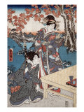 Court Ladies Gathering Maple Leaves, Japanese Wood-Cut Print Posters by  Lantern Press