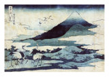 Cranes on the Ground and in Flight with Mount Fuji in the Background, Japanese Wood-Cut Print Prints