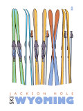 Jackson Hole, Wyoming, Skis in the Snow Prints