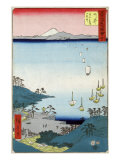 Village with Ships in the Harbor and a View of Mount Fuji, Japanese Wood-Cut Print Posters