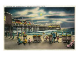Old Orchard Beach, Maine, View of the Pier and Beach at Night Art