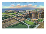 Chicago, Illinois, Aerial View of the Illinois Central Depot, Portion of City Print by  Lantern Press