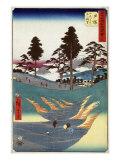 Laborers in Rice Paddies, Pilgrims on the Road, and Mount Fuji, Japanese Wood-Cut Print Art by  Lantern Press