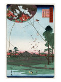 Distant View of Akiba of Enshu: Kites of Fukuroi, Japanese Wood-Cut Print Prints by  Lantern Press