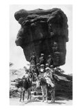 Colorado Springs, Colorado, View of Tourist at Balanced Rock, Ladies on Burros Posters