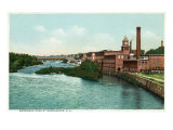Manchester, New Hampshire, Merrimack River View of Factories Posters