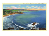 Laguna Beach, California, Aerial View of the Coves along the Coast Posters