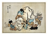 Blind Monks Examining an Elephant, Japanese Wood-Cut Print Prints