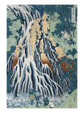 Kirifuri Falls at Mount Kurokami in Shimosuke, Japanese Wood-Cut Print Prints