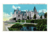 Asheville, North Carolina, Exterior View of the Biltmore Mansion with Lily Pools Print by  Lantern Press