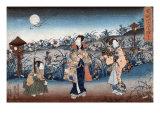 Man and Two Women Walking at Night under a Full Moon, Japanese Wood-Cut Print Art