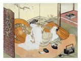 Courtesan and Her Guest in Bed, Japanese Wood-Cut Print Print by  Lantern Press
